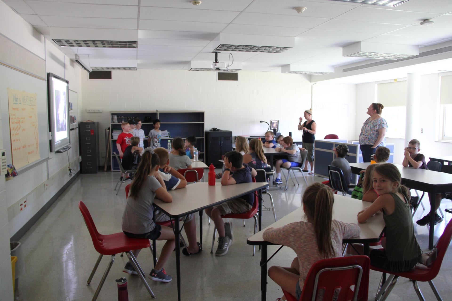 wide shot of students giving presentations in classroom