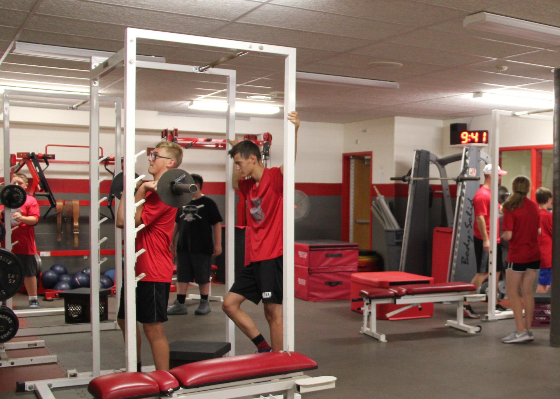 wide shot of weight room