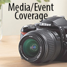 "a camera with ""Media/Event Coverage"" text"