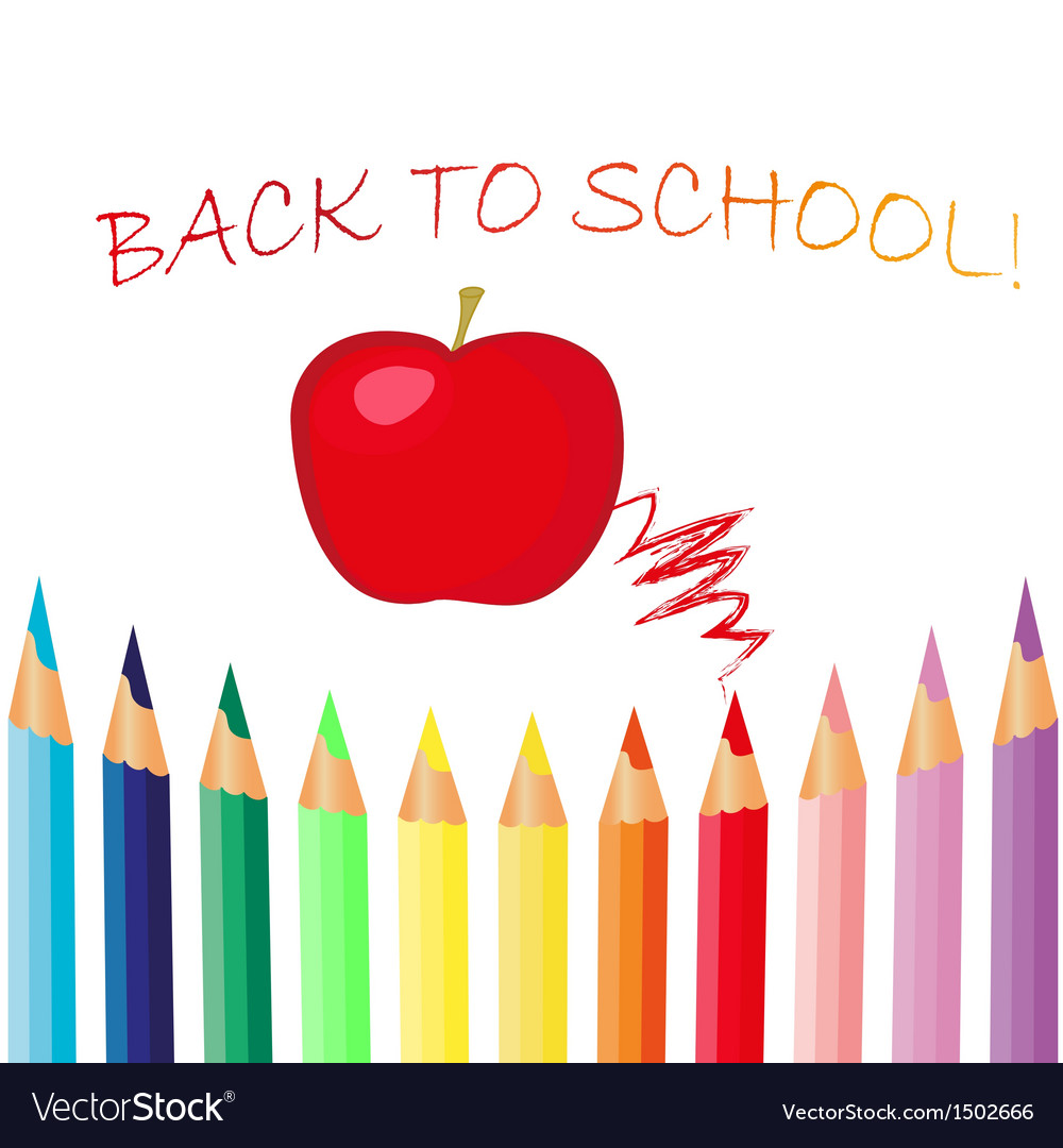 Picture of a red apple below Welcome Back to School label. The red apple is above a row of colored pencils