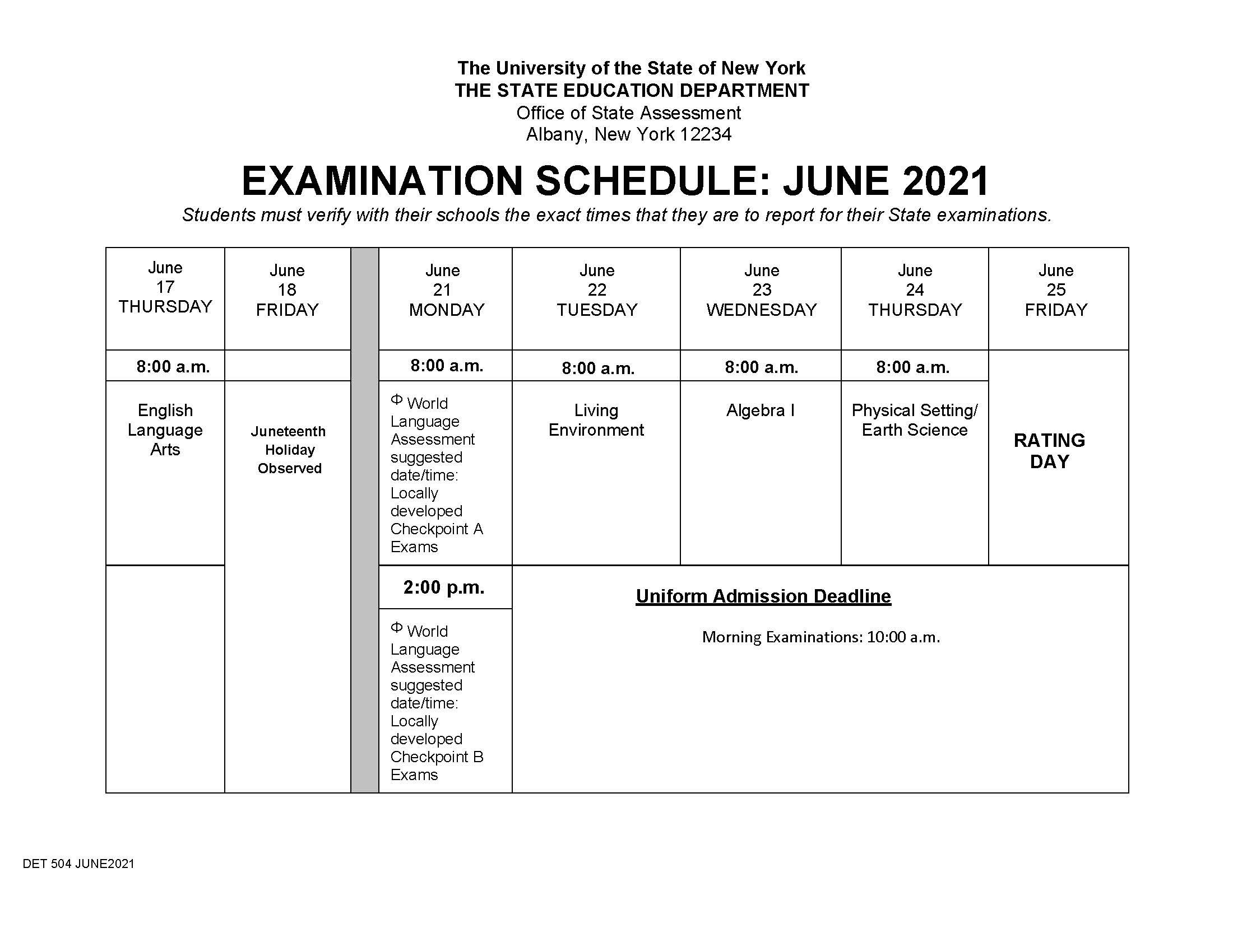 NYS Regents Exam Schedule - June 2021