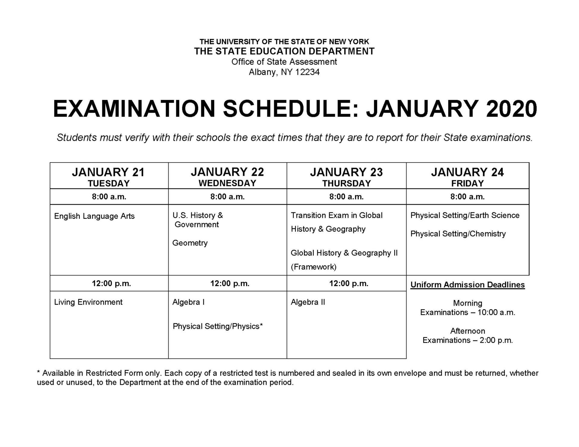 Examination Schedule: January 2020
