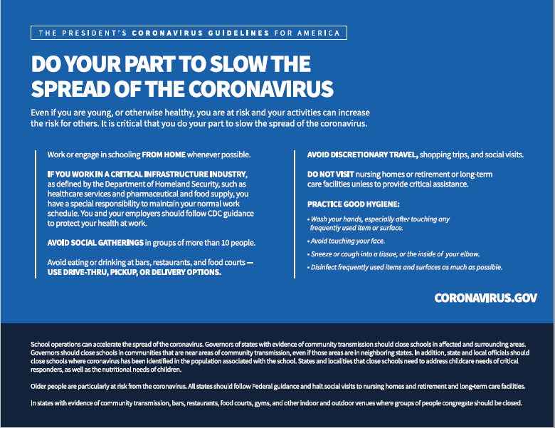Coronavirus Guidelines for America