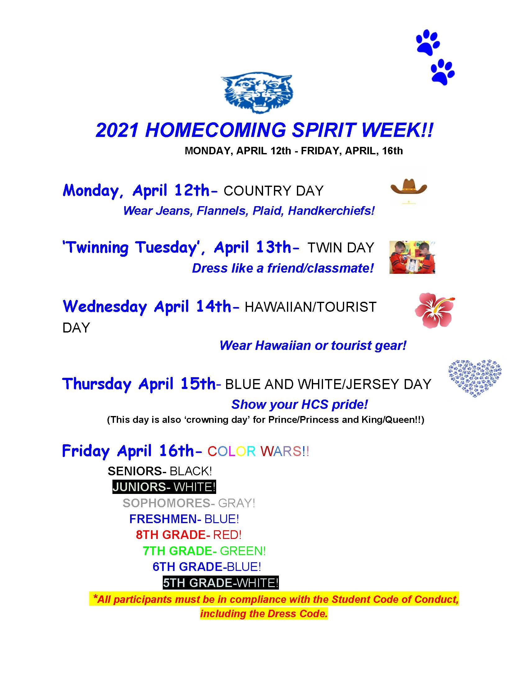2021 HCS Homecoming Spirit Week Schedule
