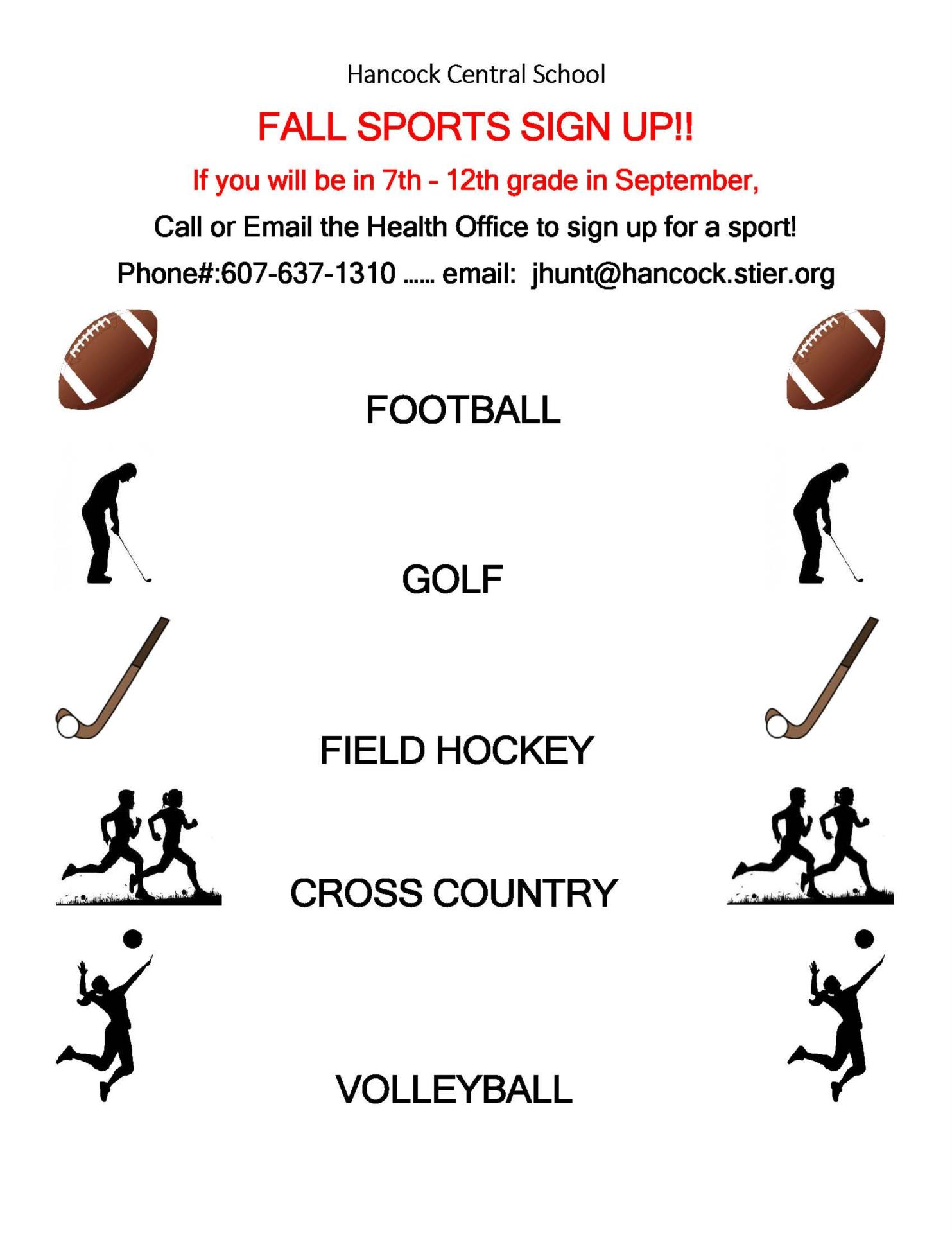 Fall Sports Signup Flyer