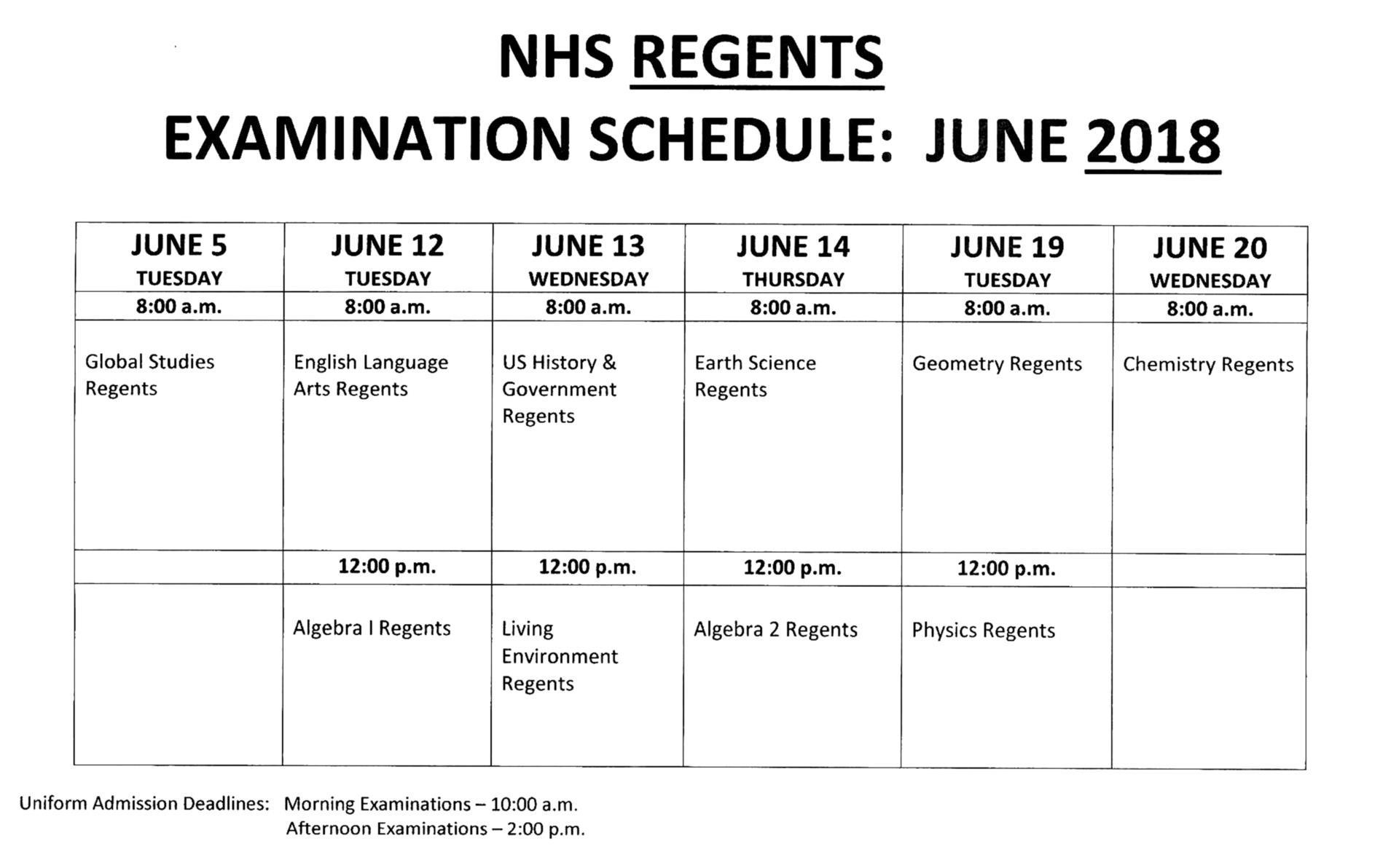2018 June Regents Schedule