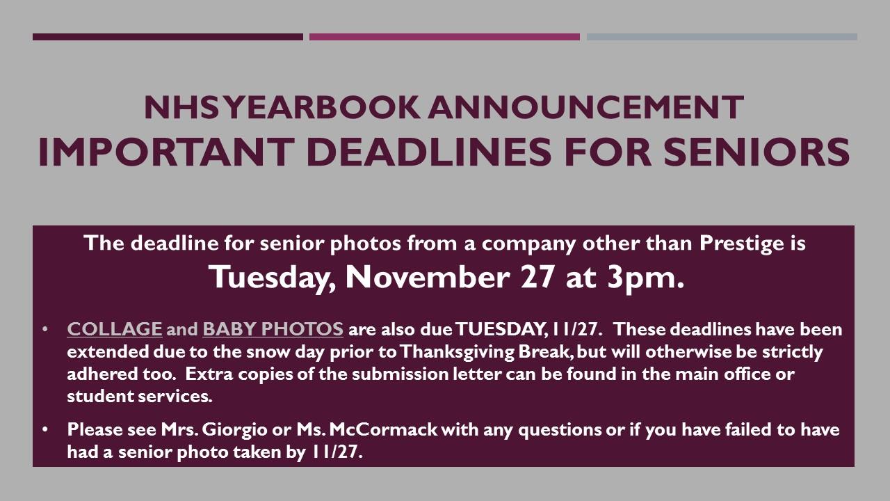 NHS Yearbook Deadlines