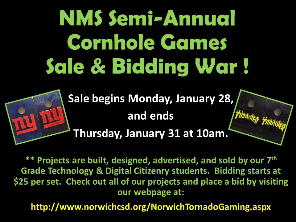 NMS Semi-Annual Cornhole Gameboards Sale and Bidding War for Week of January 28, 2019
