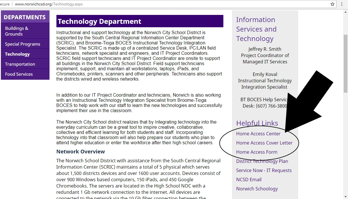 NCSD Technology Webpage for Home Access Setup Instructions