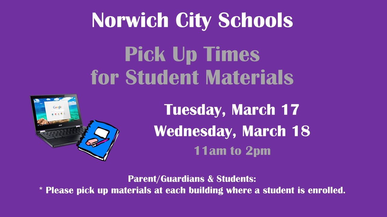 Pick up times for student materials
