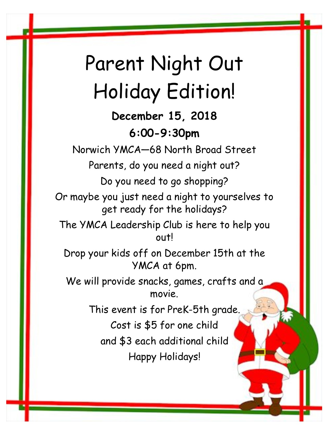 YMCA Flyer for Parent Night Out