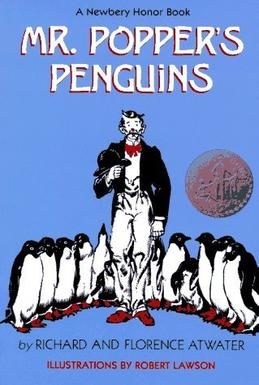 A book cover for Mr. Popper's Penguins is seen