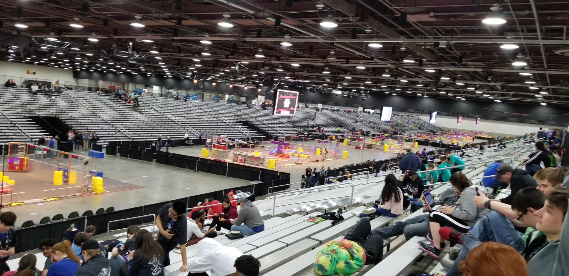 the inside of an arena is seen