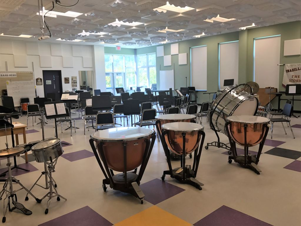 The band room is seen with instruments
