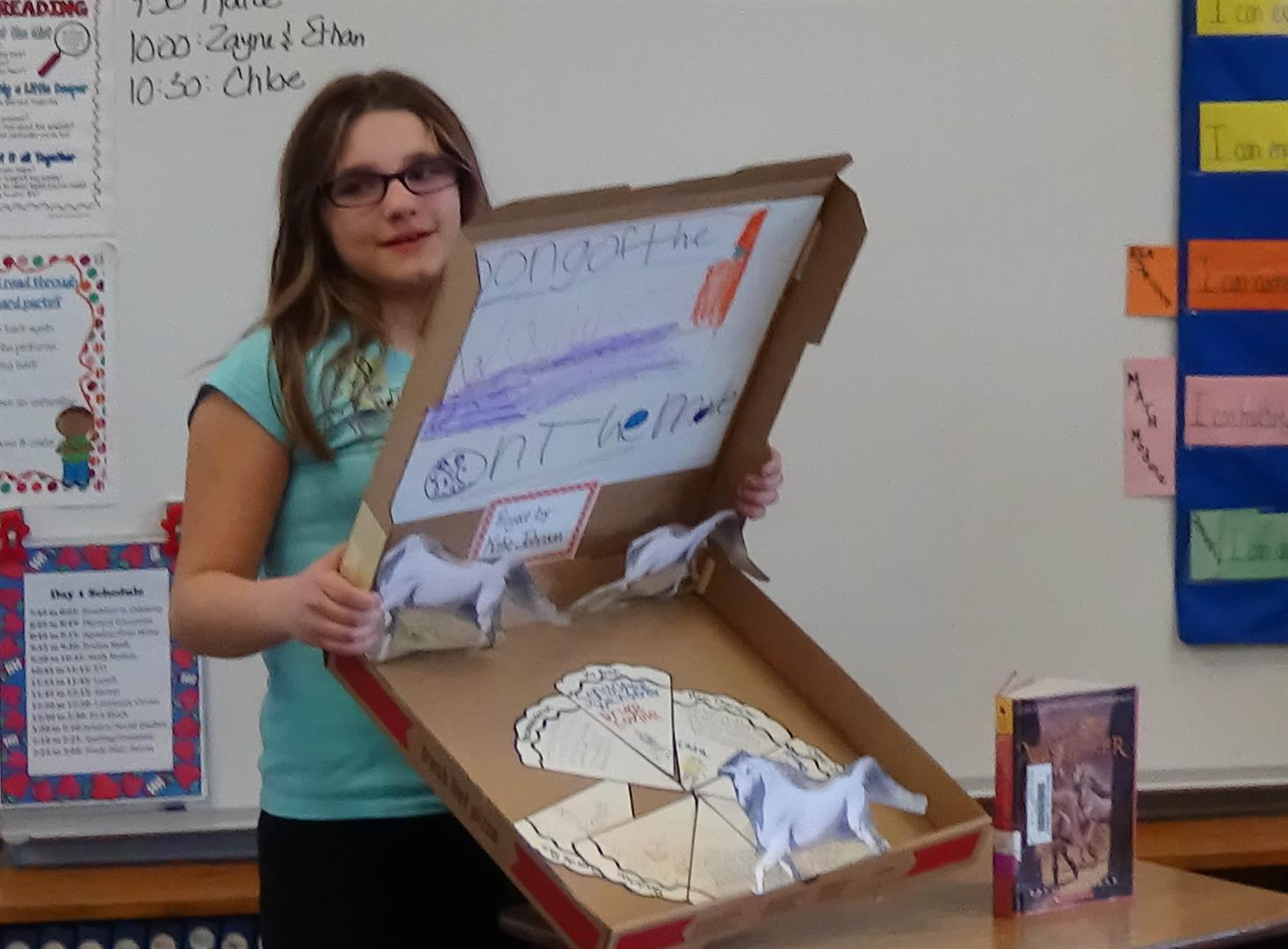 A student presents her book report