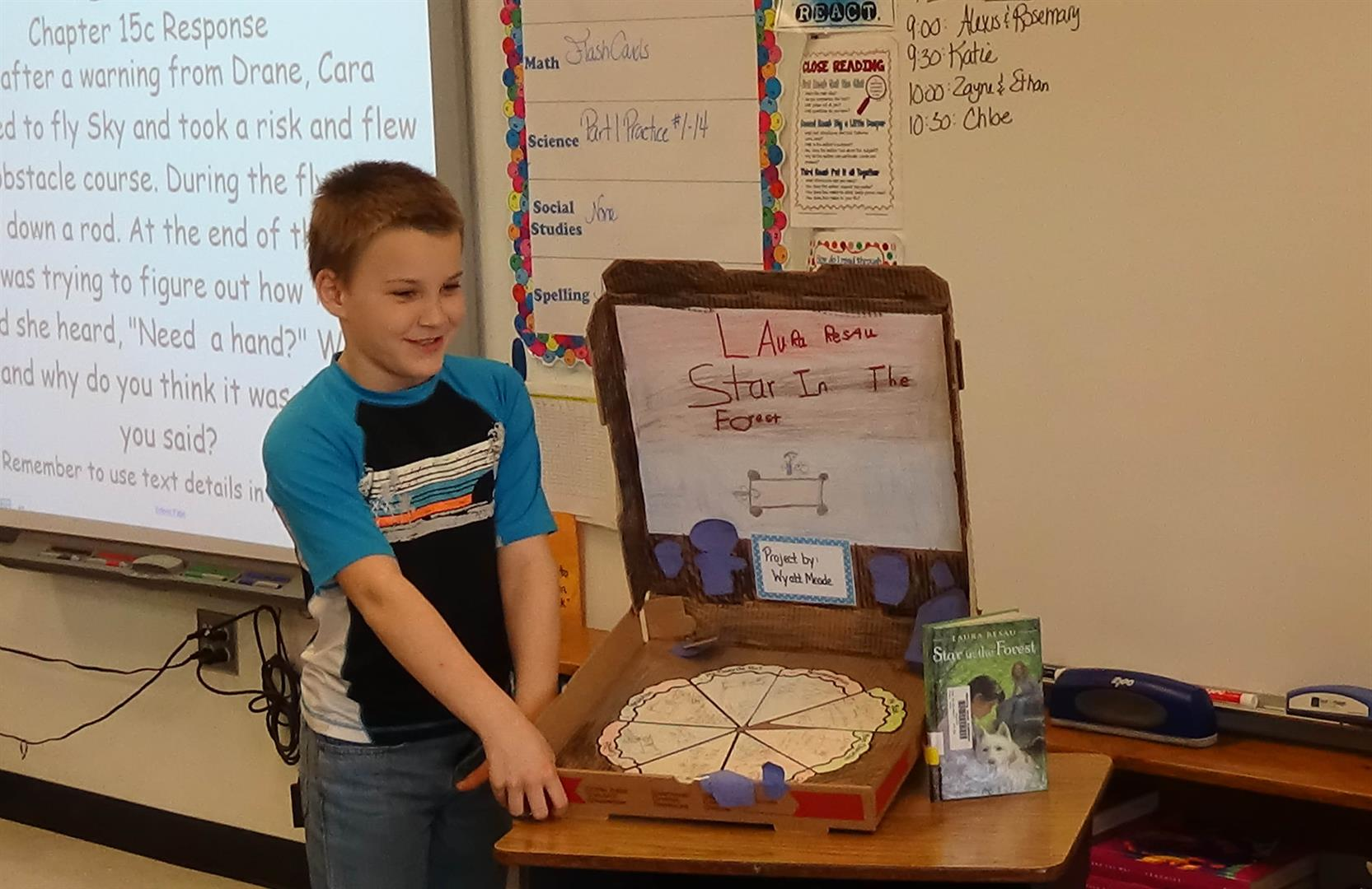 a student presents a book report
