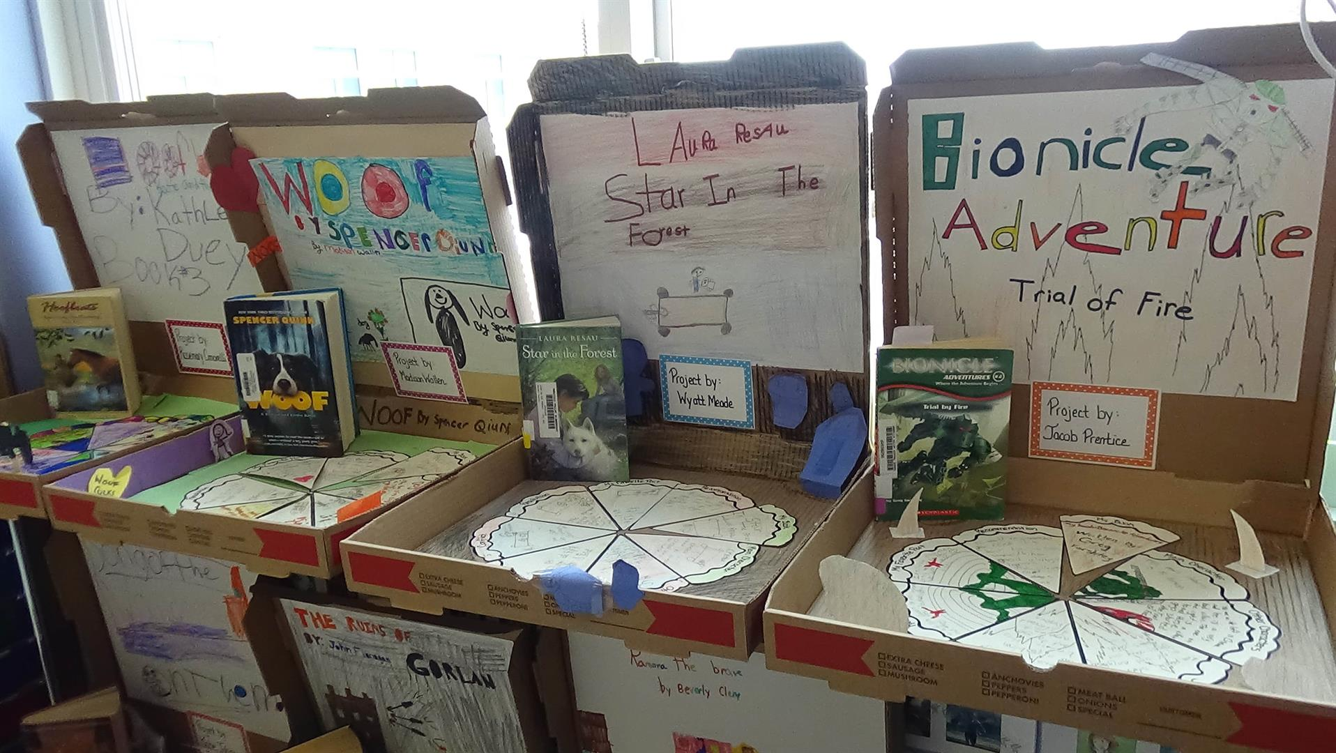 student book reports are seen on desks