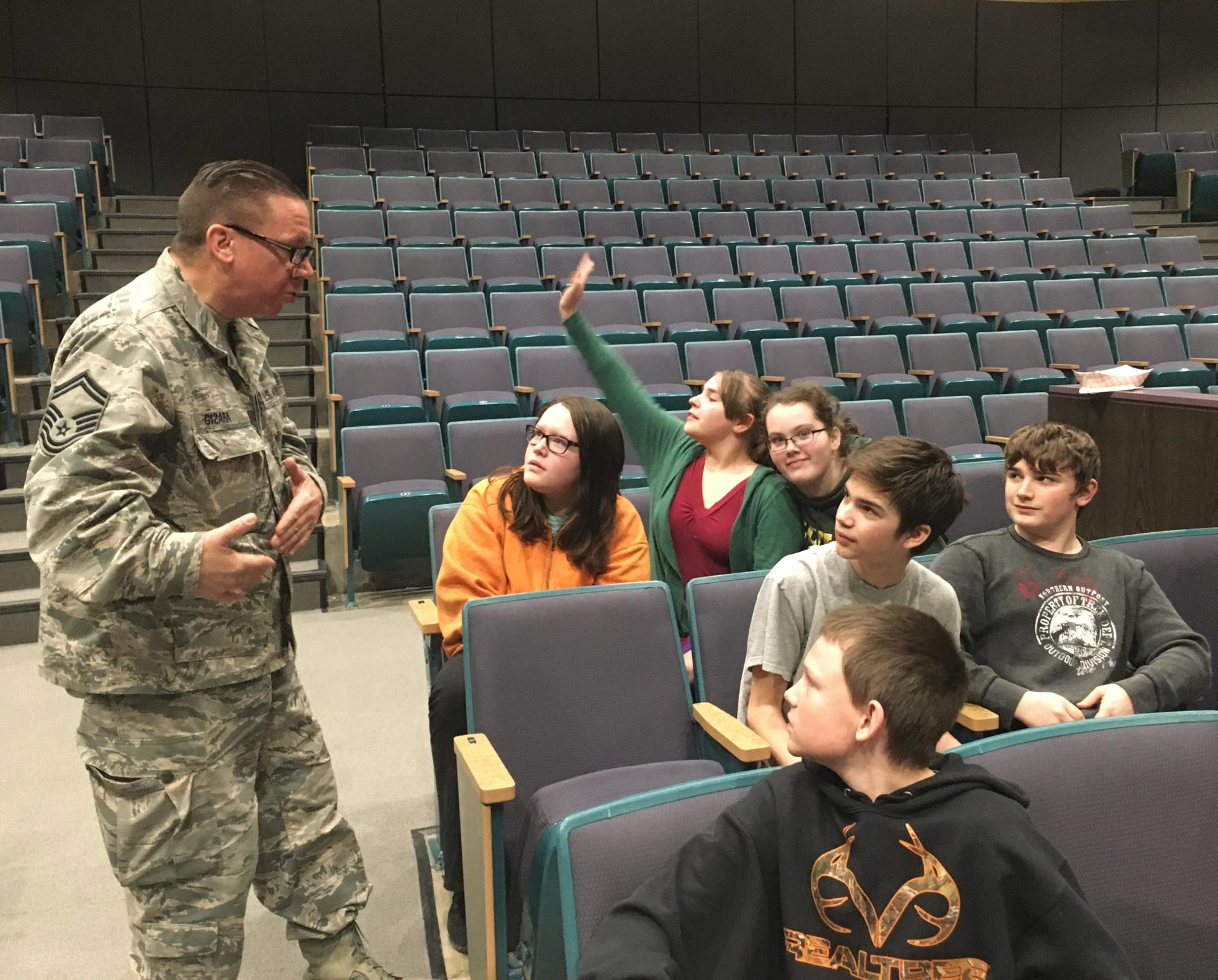 an air national guard sergeant takes questions from students