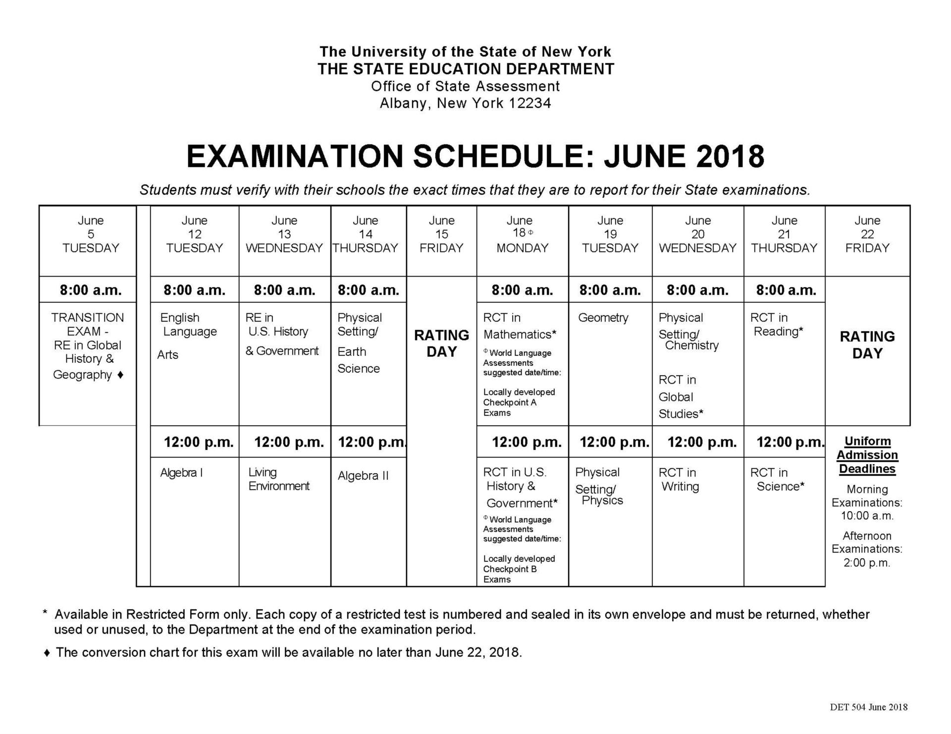 June 2018 Regents Exam Schedule