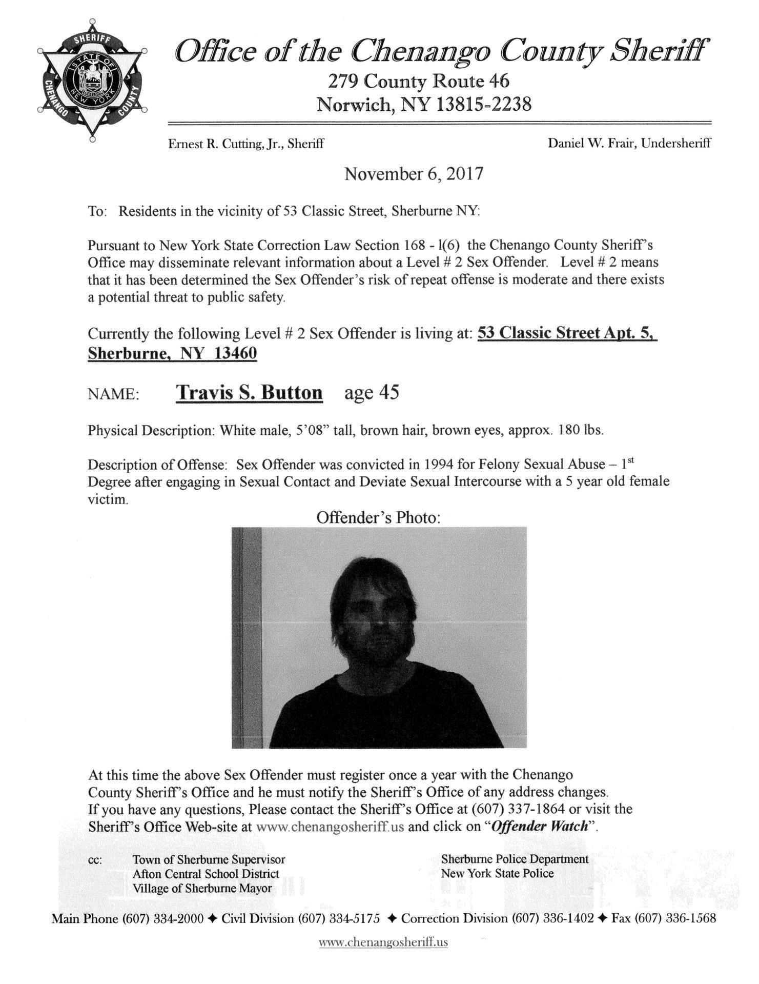 Sex Offender Travis Button