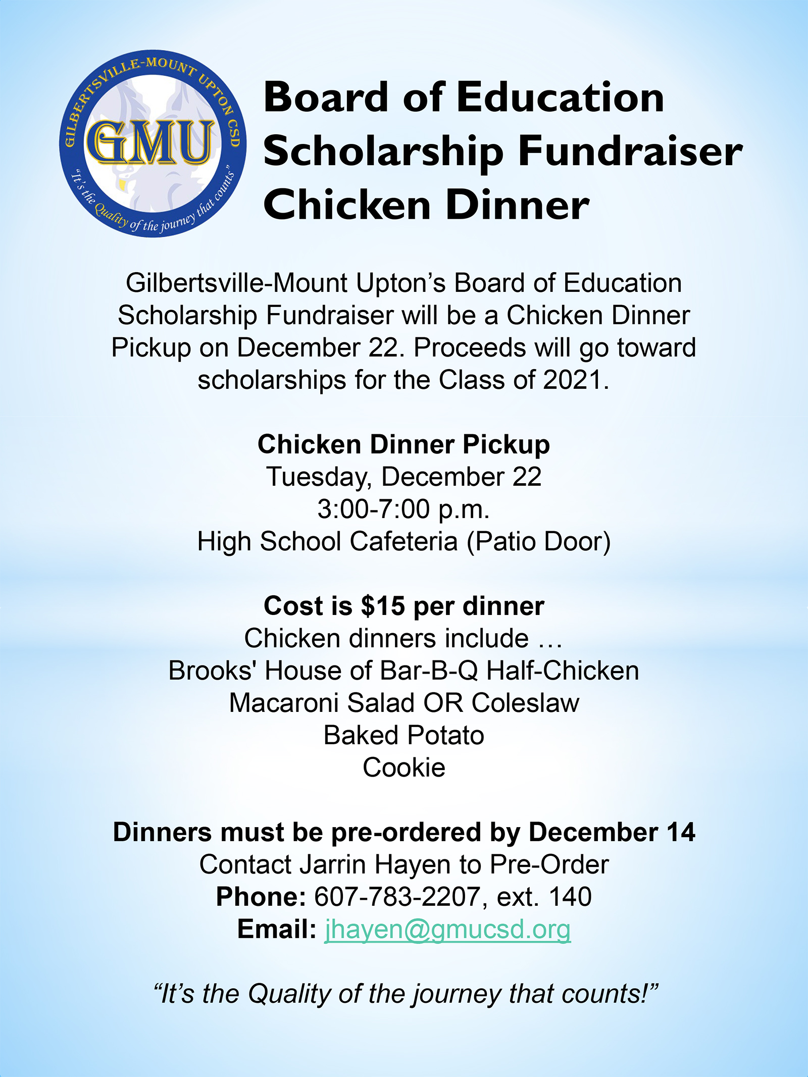 Chicken Fundraiser Flyer (11/2020)