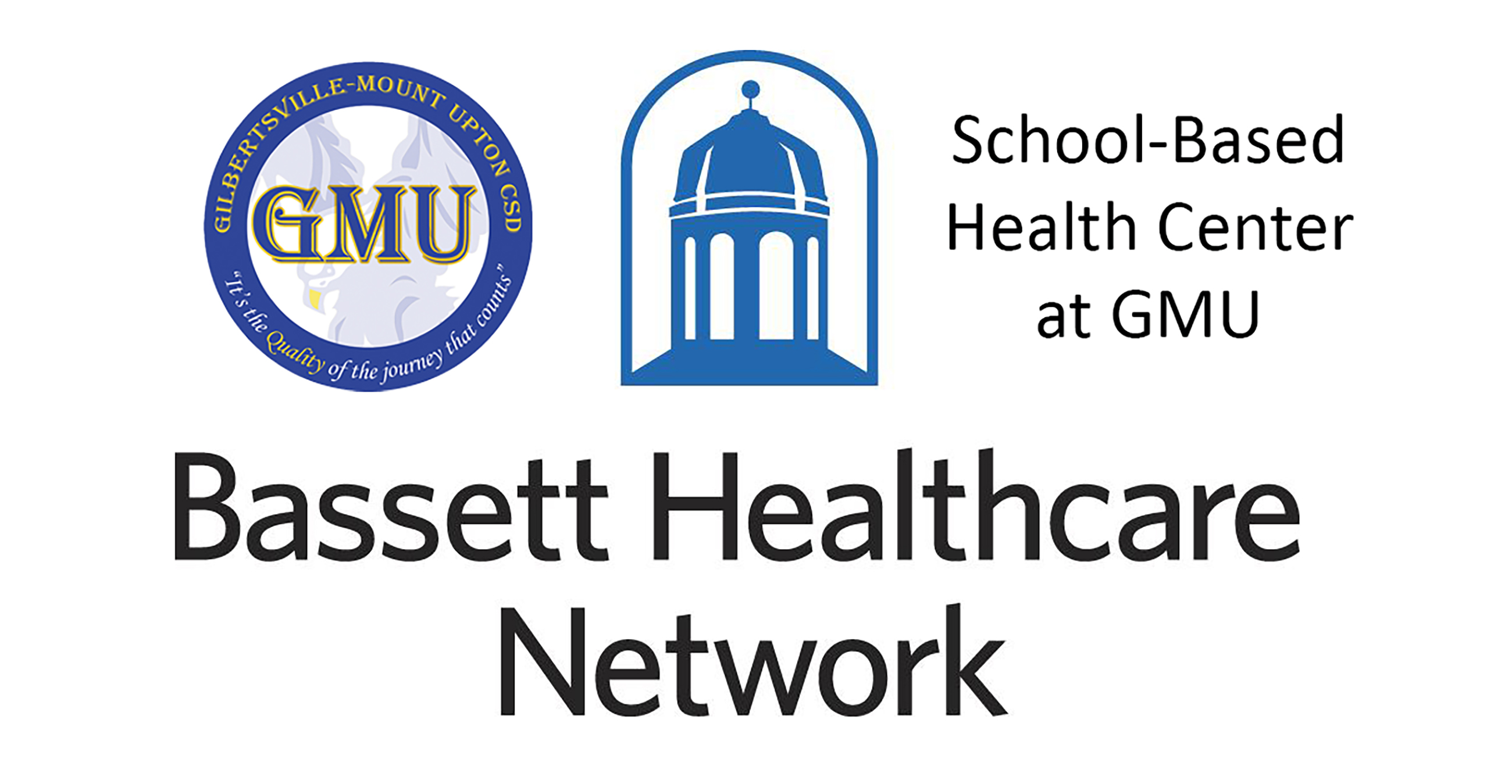 Bassett Healthcare Network and GMU logos with School-Based Health Center at GMU text