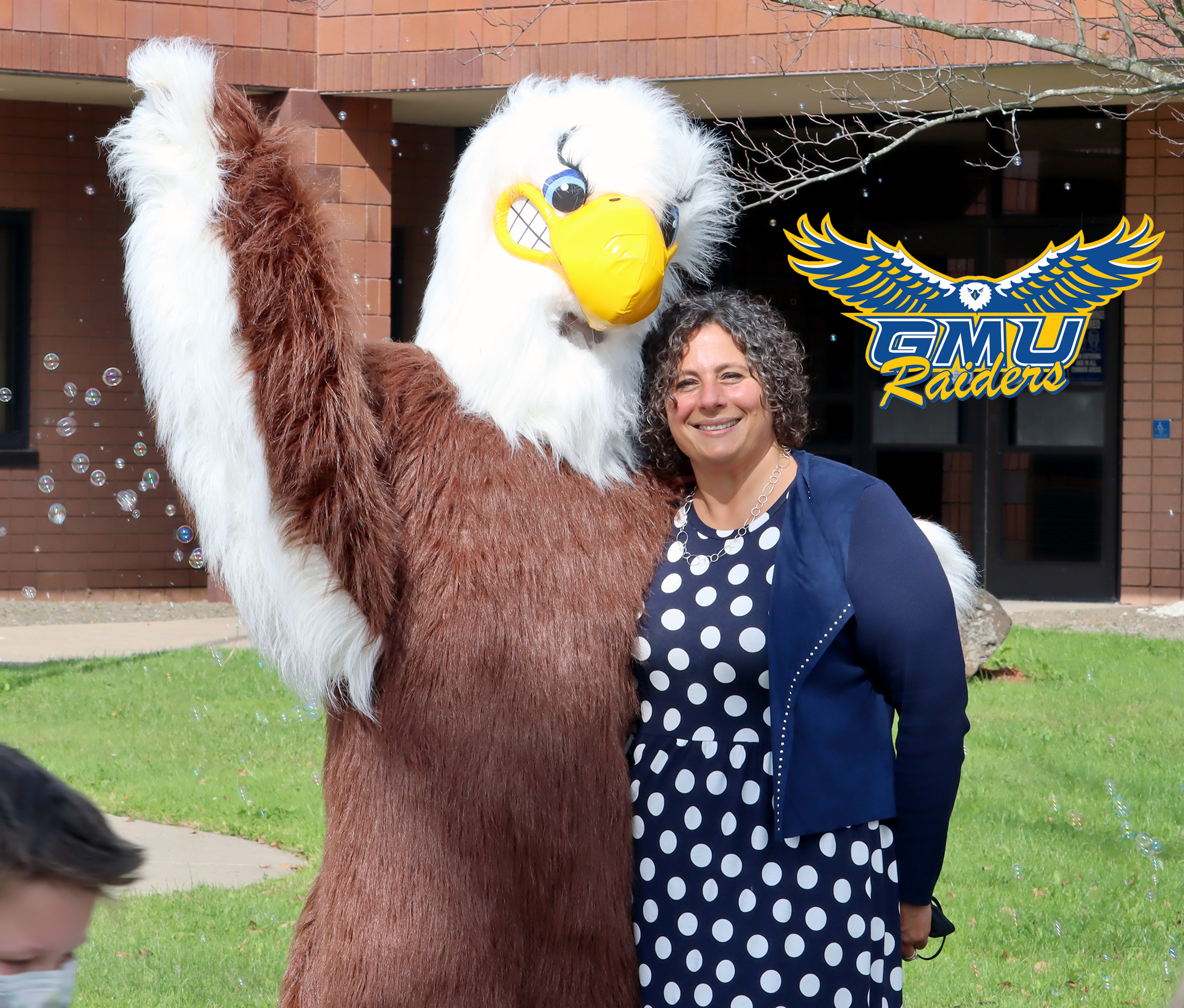 School mascot with Superintendent (10/2021)