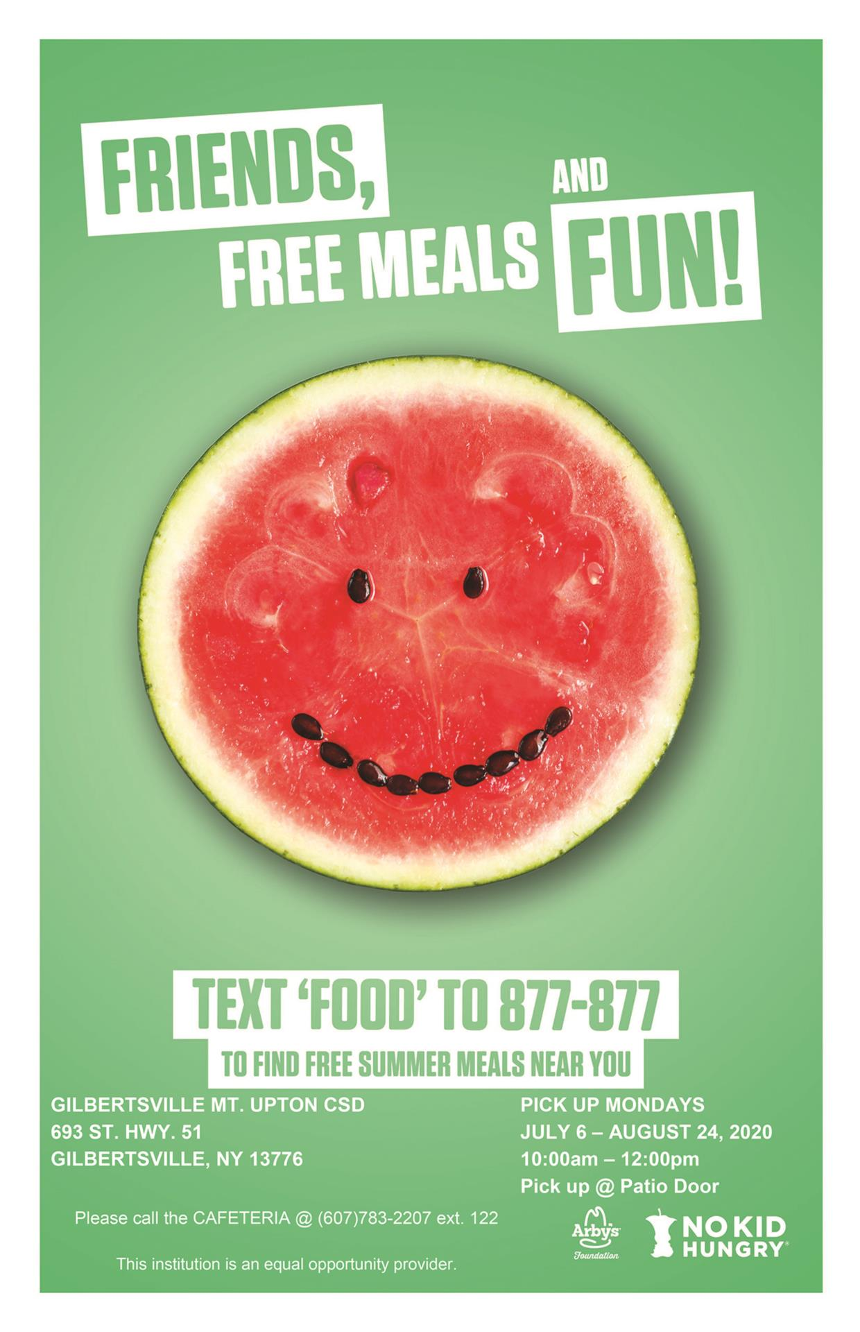 Free meals flyer with watermelon smiling (seeds)