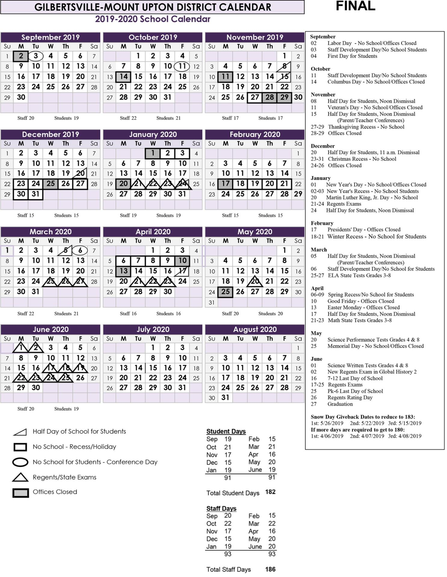 Image of GMU 2019-2020 Calendar Overview