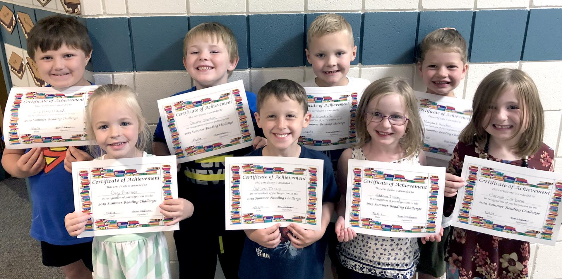 Students with reading certificates 2019