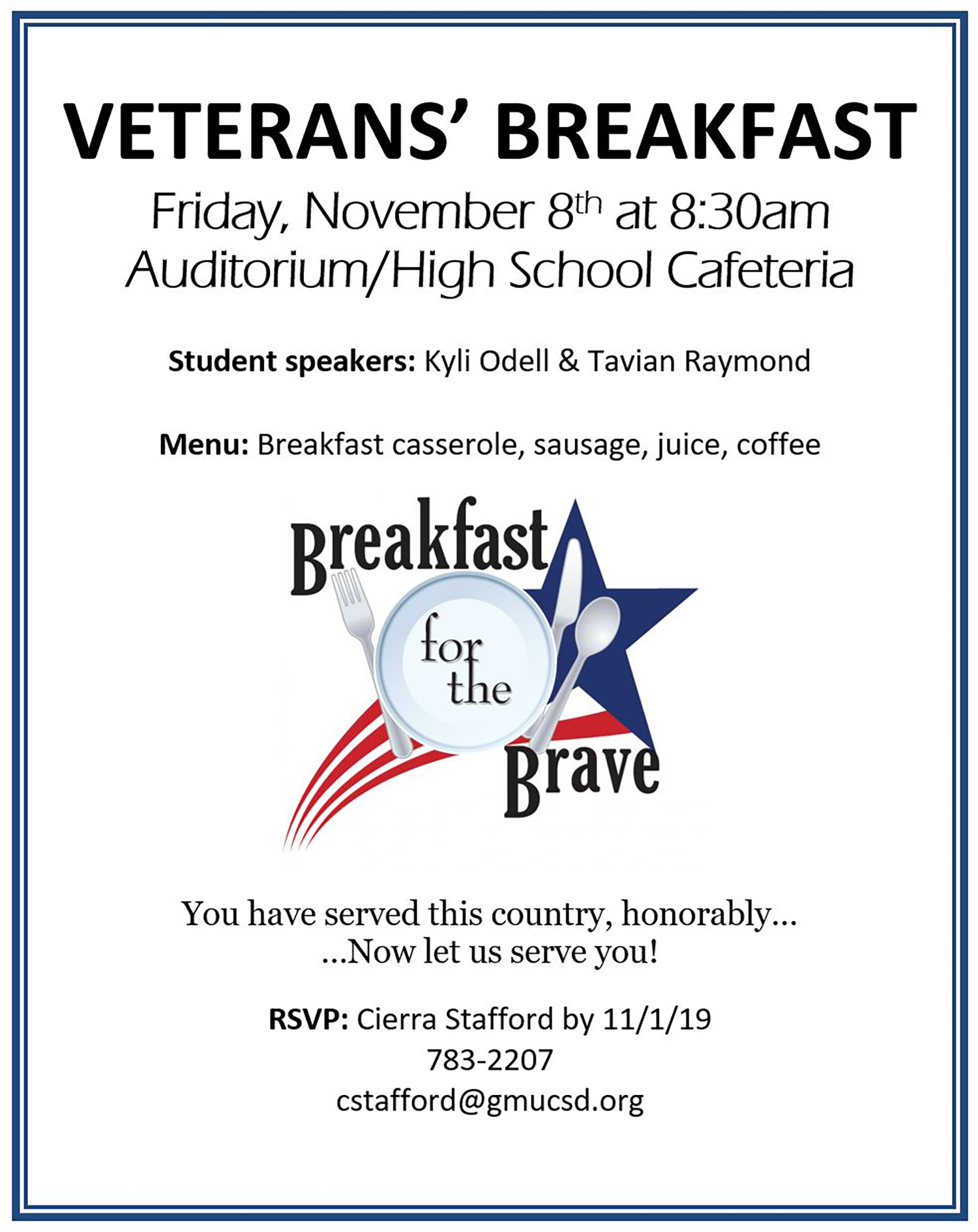 Veterans Breakfast Flyer 2019