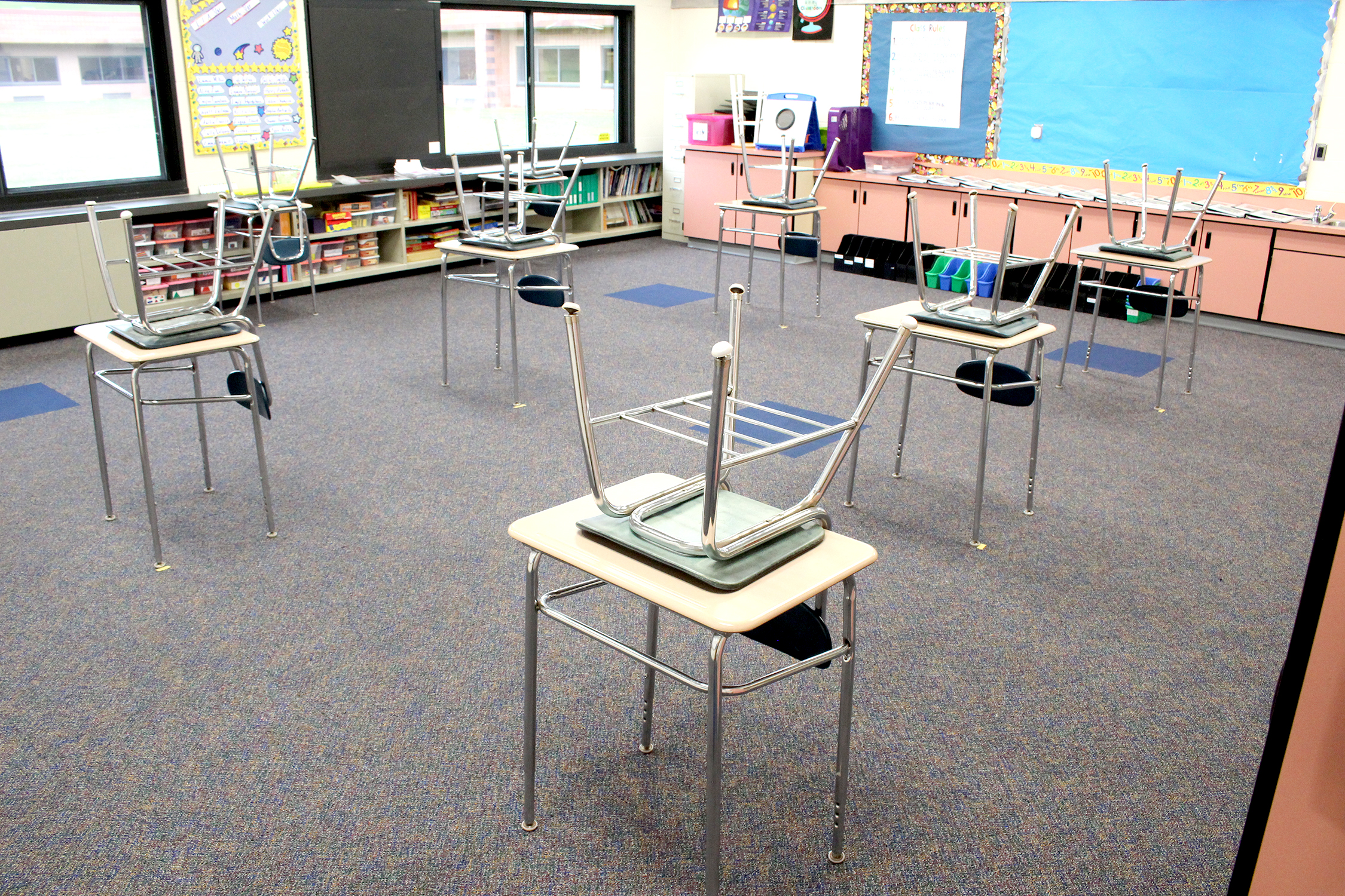 empty desks with chairs (9/2020)